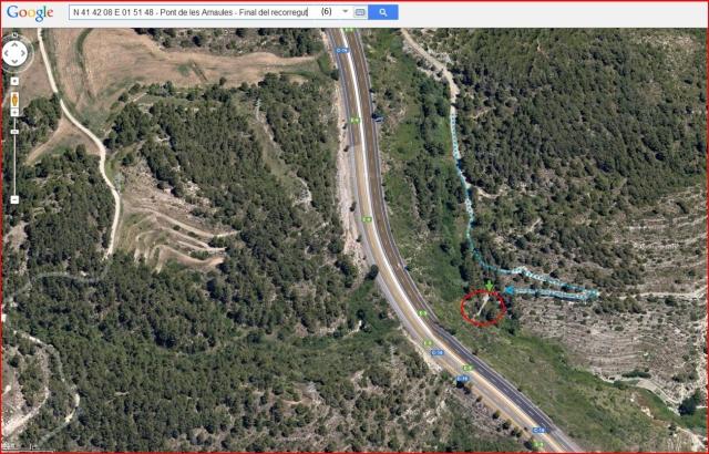 El Pont de les Arnaules – Manresa - Itinerari - 6 - Captura de pantalla de Google Maps, complementada amb anotacions manuals.
