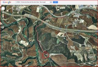 Itinerari del camí a l'ermita de la Mare de Déu de la Sala – Jorba - Captura de pantalla de Google Maps, complementada amb anotacions manuals.