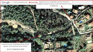 Ermita de la Mare de Déu de la Salut – El Papiol- Captura de pantalla de Google Maps, complementada amb anotacions manuals.
