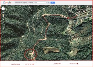 Ermita de la Mare de Déu de la Salut – El Papiol- Captura de pantalla de Google Maps, complementada amb anotacions manuals.iol