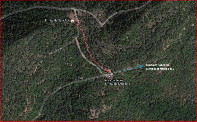 Ermita Mare de Deu de l\'Abellera - Prades-ITINERARI final -Captura de pantalla de Google Maps, complementada amb anotacions manuals