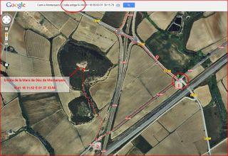 Ermita de la Mare de Déu de Montanyans – Castellet i la Gornal - Itinerari - Captura de pantalla de Google Maps, complementada amb anotacions manuals.