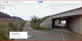 Ermita de la Mare de Déu de Montanyans – Castellet i la Gornal - Detall d'una part de l'itinerari - Captura de pantalla de Google Maps, complementada amb anotacions manuals.