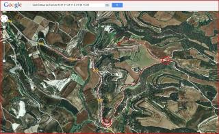 Ermita de Sant Esteve de Ferriols – Bellprat - Itinerari - Captura de pantalla de Google Maps, complementada amb anotacions manuals.