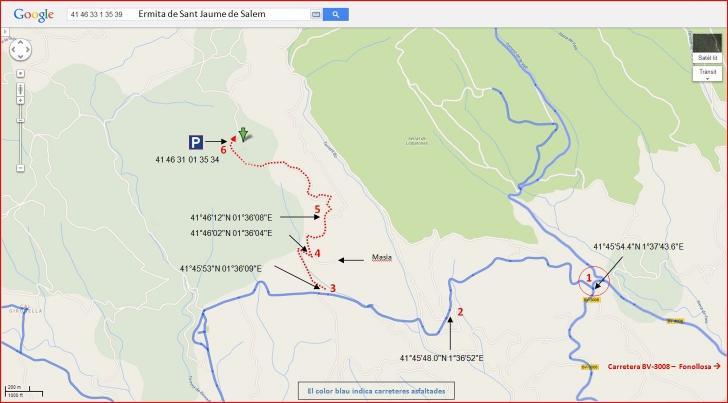 Ermita de Sant Jaume de Salem – Sant Mateu de Bages - Captura de pantalla de Google Maps, complementada amb anotacions manuals.