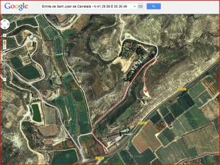 Ermita de Sant Joan de Carratalà - Itinerari - Captura de pantalla de Google Maps, complementada amb anotacions manuals.