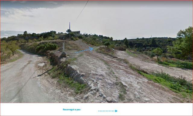 Camí d'accés a l'Ermita de Sant Joan – Juncosa - Captura de pantalla de Google Maps, complementada amb anotacions manuals