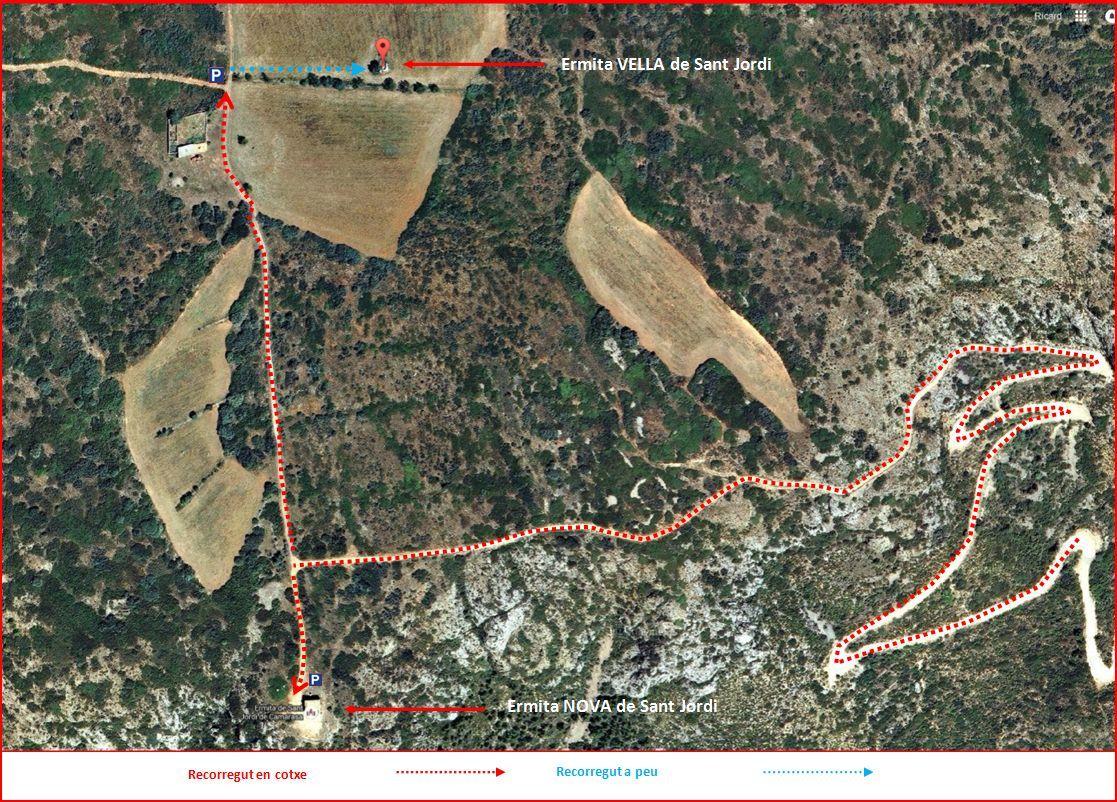 Itinerari - Part final del camí a l'ermita de Sant Jordi. Captura de pantalla de Google Maps, complementada amb anotacions manuals