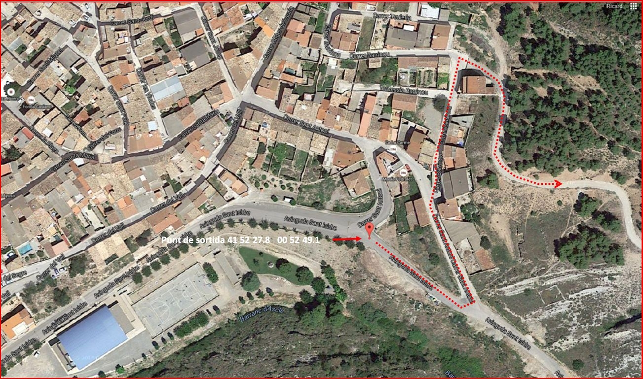 Itinerari - Part inicial del camí a l'ermita de Sant Jordi. Captura de pantalla de Google Maps, complementada amb anotacions manuals