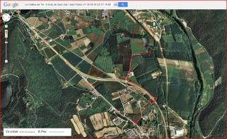 Ermita de Sant Just i Sant Pastor – La Cellera de Ter - Itinerari - Captura de pantalla de Google Maps, complementada amb anotacions manuals.
