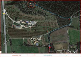- Planell del camí a l\'Ermita de Sant Llop – Vilobí d\'Onyar - Captura de pantalla dee Google Maps, complementada amb anotacions manuals