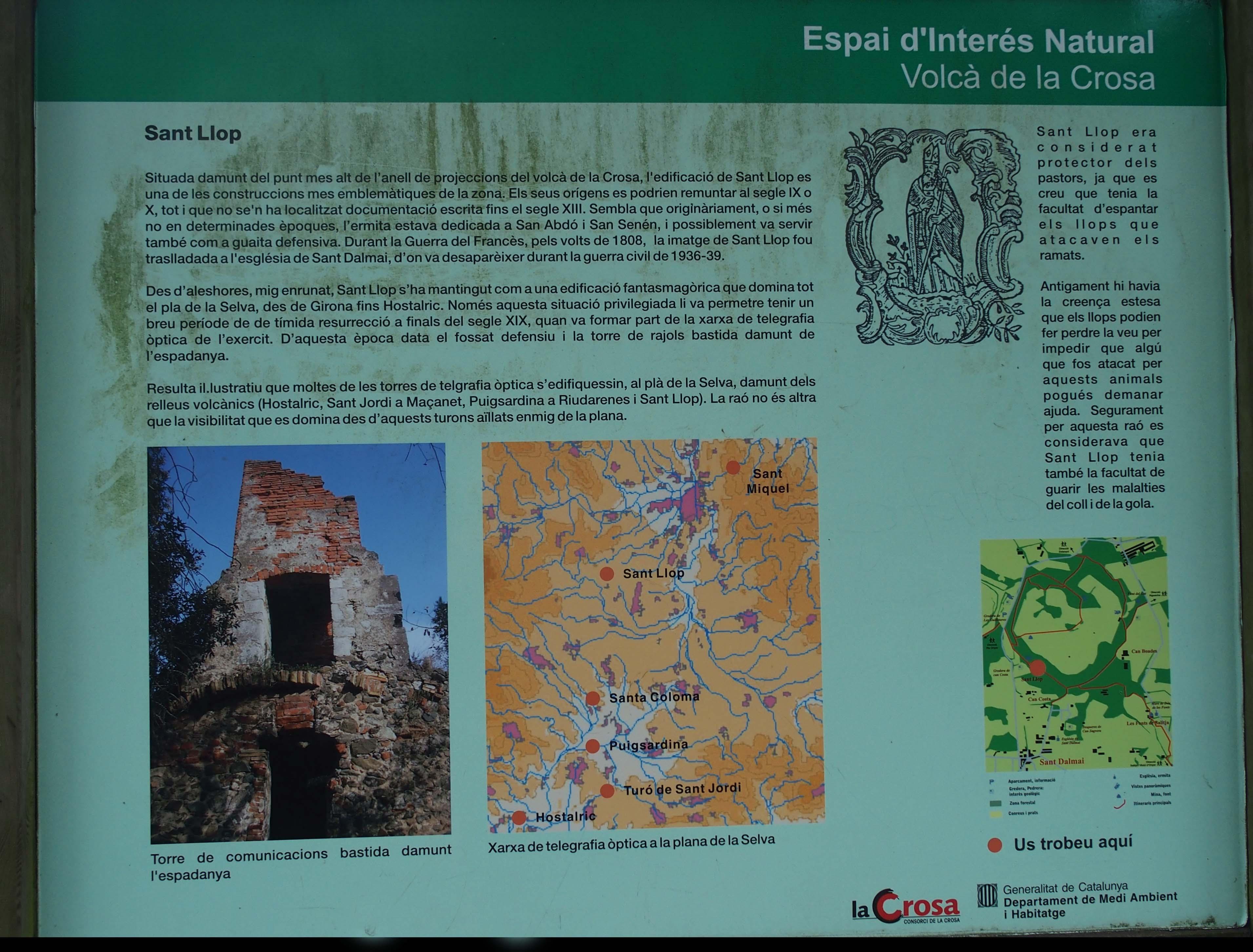 Ermita de Sant Llop – Vilobí d'Onyar - Cartell informatiu situat al davant de l\'edificació