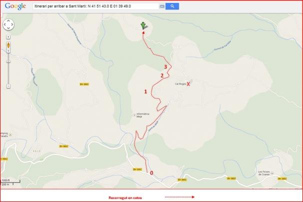 Ermita de Sant Martí – Sant Mateu de Bages - Itinerari - Captura de pantalla de Google Maps, complementada amb anotacions manuals.