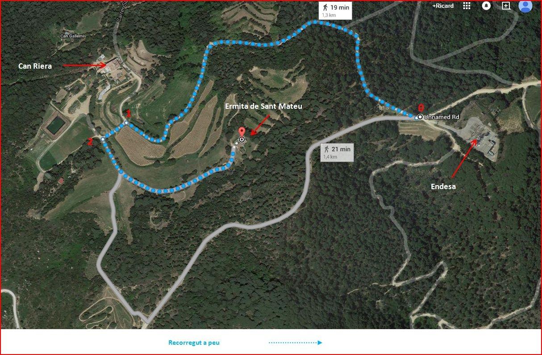 Ermita de Sant Mateu – Premià de Dalt - Itinerari - Captura de pantalla de Google Maps, complementada amb anotacions manuals