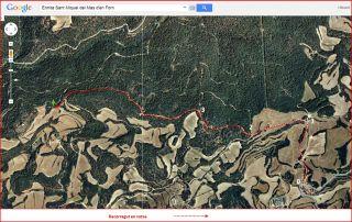 Ermita de Sant Miquel del Mas d'en Forn – Biosca - Itinerari GLOBAL - Captura de pantalla de Google Maps, complementada amb anotacions manuals.
