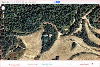 Ermita de Sant Miquel del Mas d'en Forn – Biosca - Itinerari FINAL - Captura de pantalla de Google Maps, complementada amb anotacions manuals.