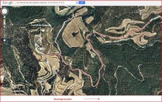 Ermita de Sant Miquel del Mas d'en Forn – Biosca - Itinerari INICIAL - Captura de pantalla de Google Maps, complementada amb anotacions manuals.