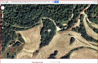 Ermita de Sant Miquel del Mas d'en Forn – Biosca - Itinerari TORNADA - Captura de pantalla de Google Maps, complementada amb anotacions manuals.