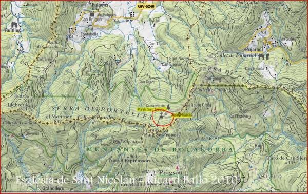 Ermita de Sant Nicolau – Sant Miquel de Campmajor - Captura de pantalla del mapa del ICC.