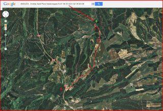 Ermita de Sant Pere Sestronques – Anglès - Itinerari - Captura de pantalla de Google Maps, complementada ambo anotacions manuals.