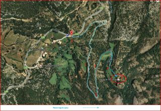 Camí a l'ermita de Sant Quintí - Itinerari - Captura de pantalla de Google Maps, complementada amb anotacions manuals