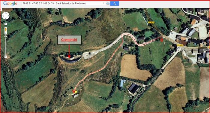 Ermita de Sant Salvador de Predanies – Prats i Sansor - Captura de pantalla de Google Maps, complementada amb anotacions manuals.