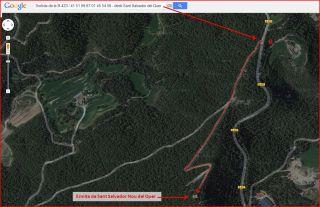 Ermites de Sant Salvador del Quer – Súria - Itinerari - Captura de pantalla de Google Maps, complementada amb anotacions manuals.