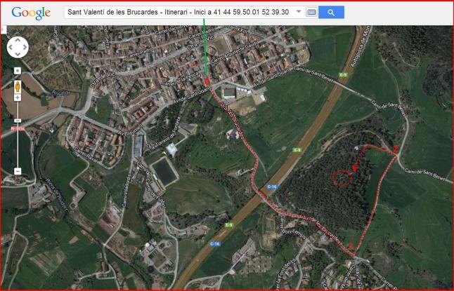 Camí a l'ermita de Sant Valentí de les Brucardes – Sant Fruitós de Bages - Captura de pantalla de Google Maps, complementada amb anotacions manuals.