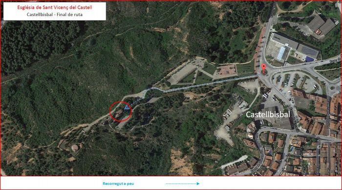 Ermita de Sant Vicenç del Castell – Castellbisbal- Captura de pantalla de Google Maps, complementada amb anotacions manuals.