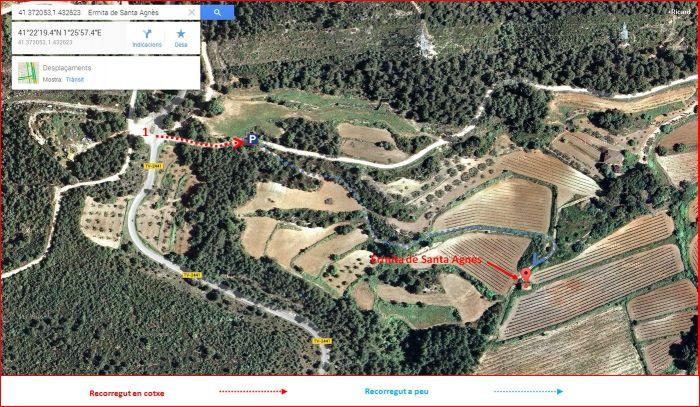 Ermita de Santa Agnès – Aiguamúrcia- Itinerari-Captura de pantalla de Google Maps, complementada amb anotacions manuals.