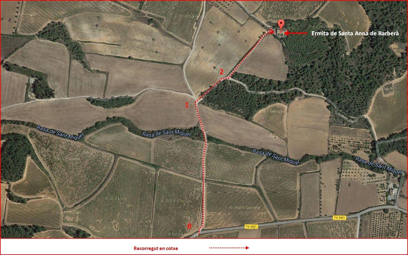 Ermita de Santa Anna de Barberà – Montblanc - ITINERARI - Captura de pantalla de Google Maps, complementada amb anotacions manuals