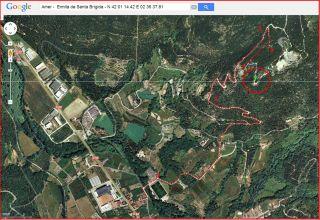 Ermita de Santa Brígida – Amer - itinerari - Captura de pantalla de Google Maps, complementada amb anotacions manuals.