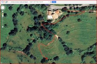 Ermita de Santa Cecília de Ragord – Vallfogona de Ripollès - Itinerari - Captura de pantalla de Google Maps, complementada amb anotacions manuals.