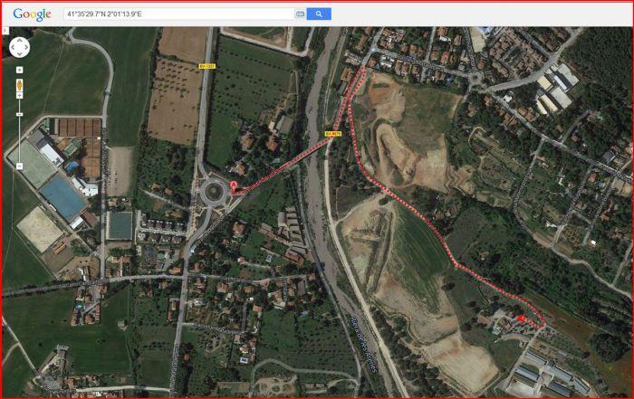 Ermita de Santa Magdalena de Puigbarral – Terrassa - Captura de pantalla de Google Maps, complementada amb anotacions manuals.