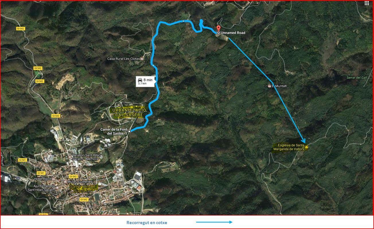 Ermita de Santa Margarida de Vallors - Sant Hilari Sacalm - MAPA del recorregut - Captura de pantalla de Google Maps, complementada amb anotacions manuals