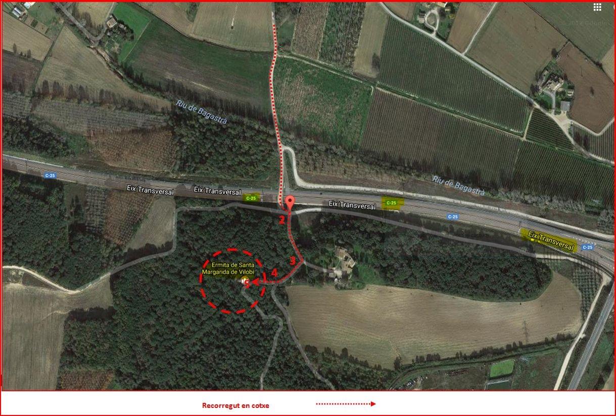 Ermita de Santa Margarida – Vilobí d'Onyar - MAPA de l\'itinerari - Captura de pantalla de Google Maps, complementada amb anotacions manuals