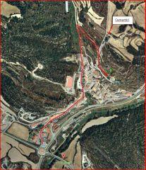 Ermita de Santa Maria / Biosca - Itinerari - Captura de pantalla de Google Maps, complementada amb anotacions manuals.