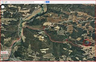 Ermita de Santa Susanna – Biosca - Itinerari - Captura de pantalla de Google Maps, complementada amb anotacions manuals.