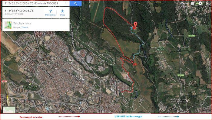 Ermita de Togores – Sabadell - Localització i itinerari - Captura de pantalla de Google Maps, complementada amb anotacions manuals.