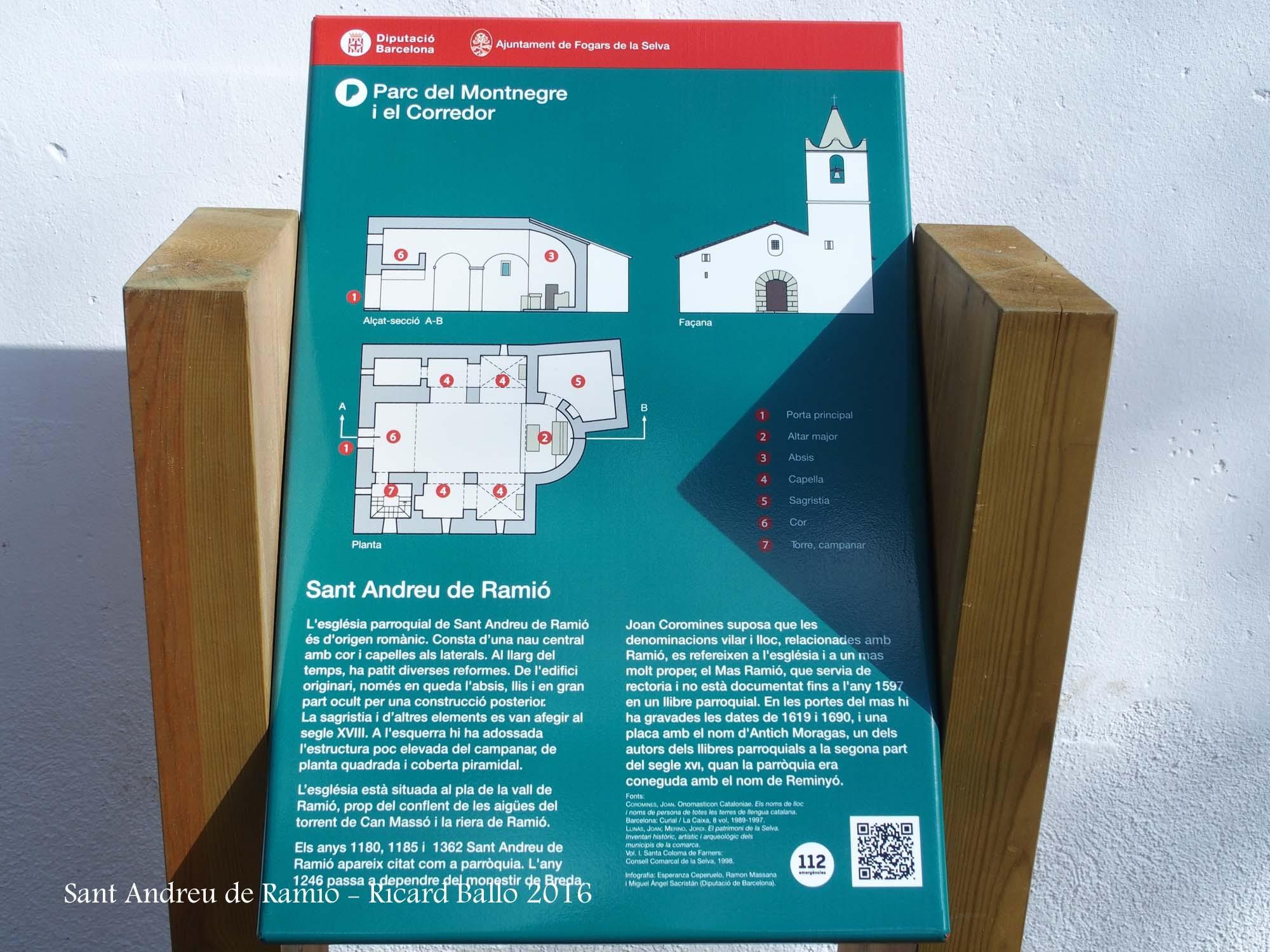 Església de Sant Andreu de Ramió – Fogars de la Selva - Plafó informatiu situat al davant de l\'església