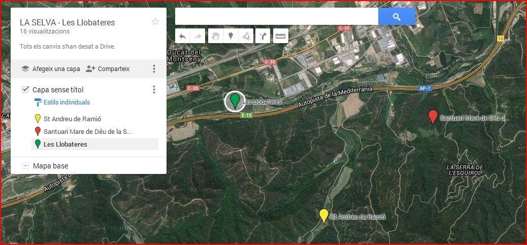 Les Llobateres - Sant Celoni - Captura de pantalla - Mapa de Google Maps, complementat amb anotacions manuals