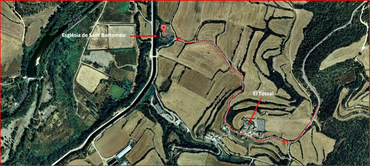 Església de Sant Bartomeu – Ponts - Itinerari - Captura de pantalla de Google Maps, complementada amb anotacions manuals