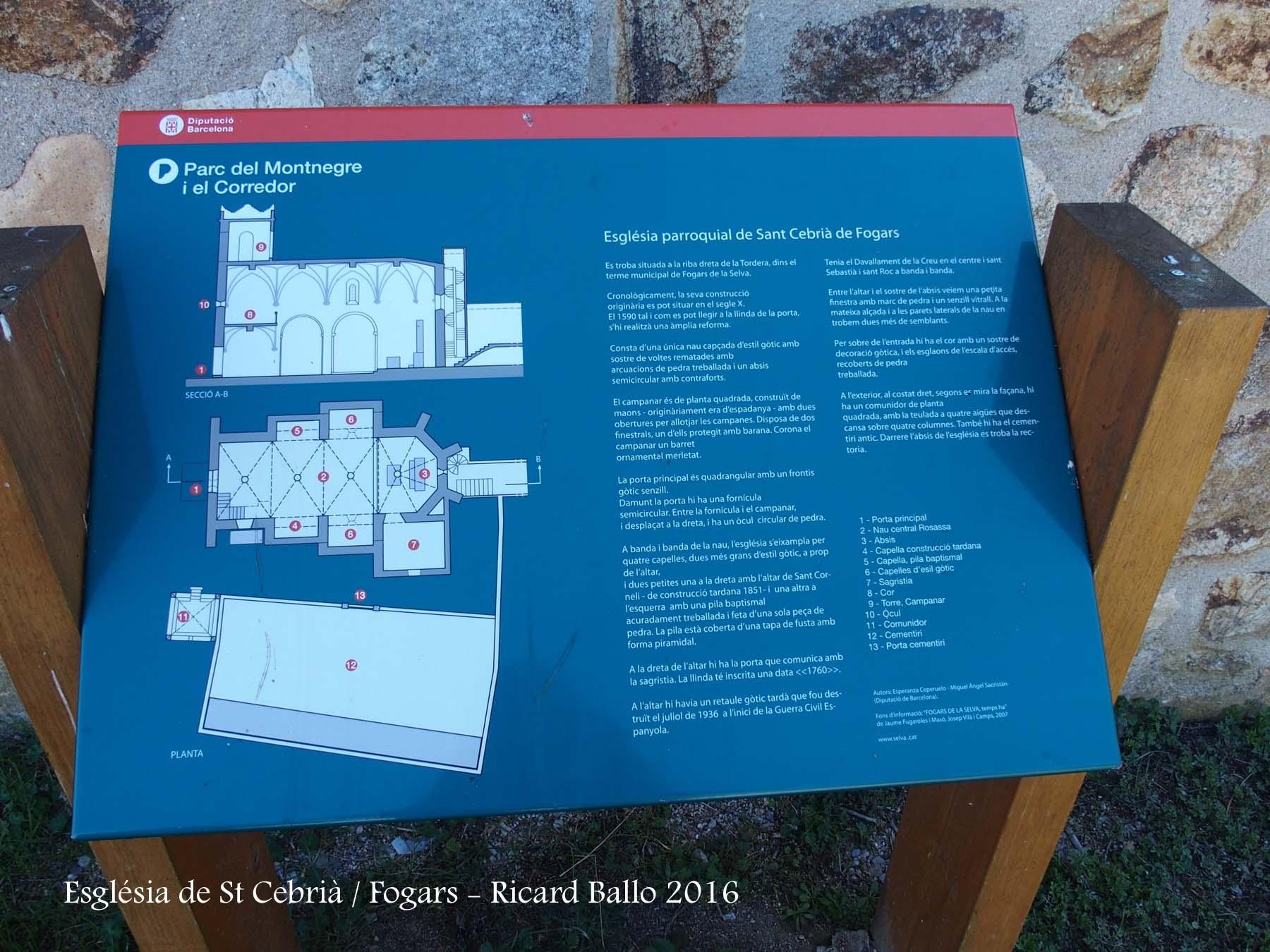 Plafó informatiu situat al davant de l\'Església de Sant Cebrià – Fogars de la Selva
