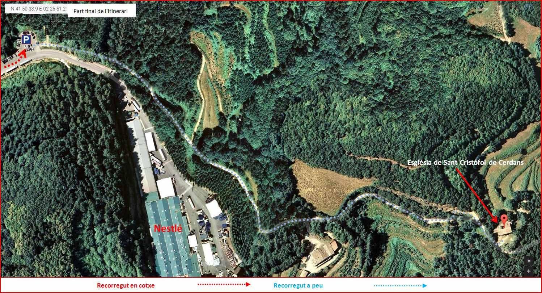 Església de Sant Cristòfol de Cerdans – Arbúcies - Itinerari - MAPA detall FINAL - Captura de pantalla de Google Maps, complementada amb anotacions manuals
