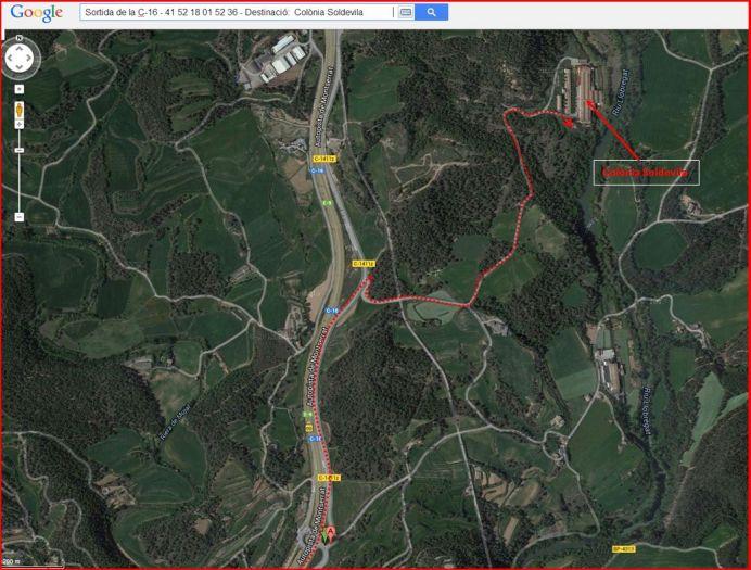 Església de Sant Esteve de la Colònia Soldevila – Balsareny - Itinerari - Captura de pantalla de Google Maps, complementada amb anotacions manuals.