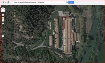 Església de Sant Esteve de la Colònia Soldevila – Balsareny - Vista aèria - Captura de pantalla de Google Maps.