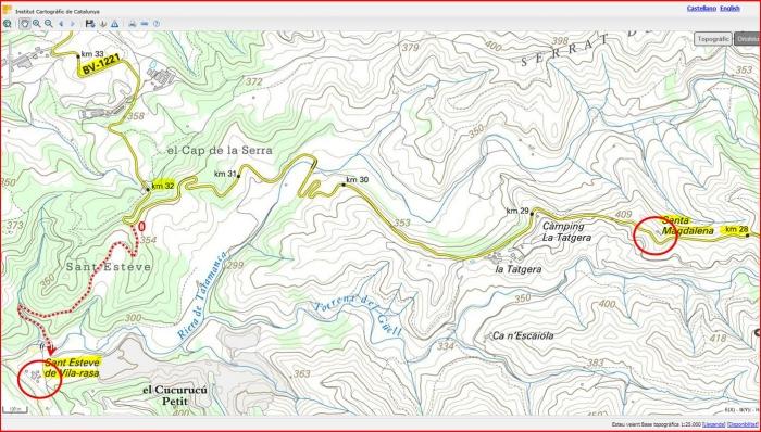 Itinerari per anar a les esglésies de Sant Esteve de Vilarasa i la de la Capella de Santa Magdalena, ambdues en terrenys del municipi de Talamanca- Captura de pantalla d'un mapa del ICC, complementada amb anotacions manuals.