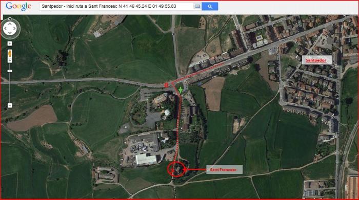 Església de Sant Francesc – Santpedor - Itinerari - Captura de pantalla de Google Maps, complementada amb anotacions manuals.