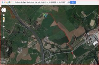 Església de Sant Genís de la Vall dels Horts - Bages - Itinerari proposat - Captura de pantalla de Google Maps, complementada amb anotacions manuals.