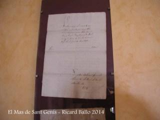 El Mas de Sant Genís - Navàs - Document de l'any 1714.